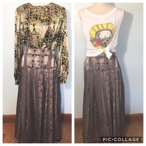 Vintage Pleated Printed Maxi Skirt